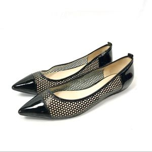 Nine West pointed toe black and clear jelly flats